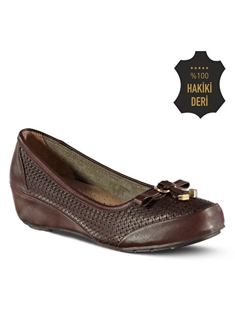 Marjin % 100 Deri Dolgu Topuk Ayakkabı Kahve